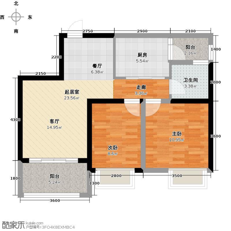 融汇半岛格林美地mini洋楼16F/18FE户型2室1卫1厨