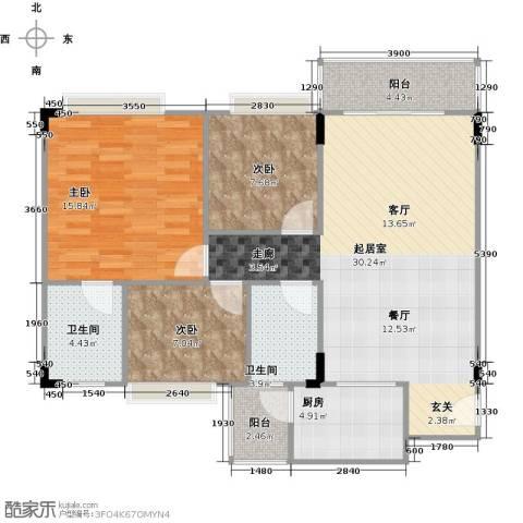 蔚蓝星湖二期3室0厅2卫1厨110.00㎡户型图