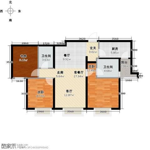 天津津南新城3室1厅2卫1厨114.00㎡户型图