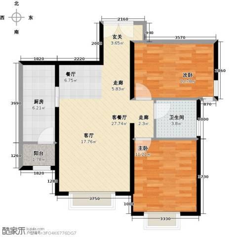 天津津南新城2室1厅1卫1厨89.00㎡户型图
