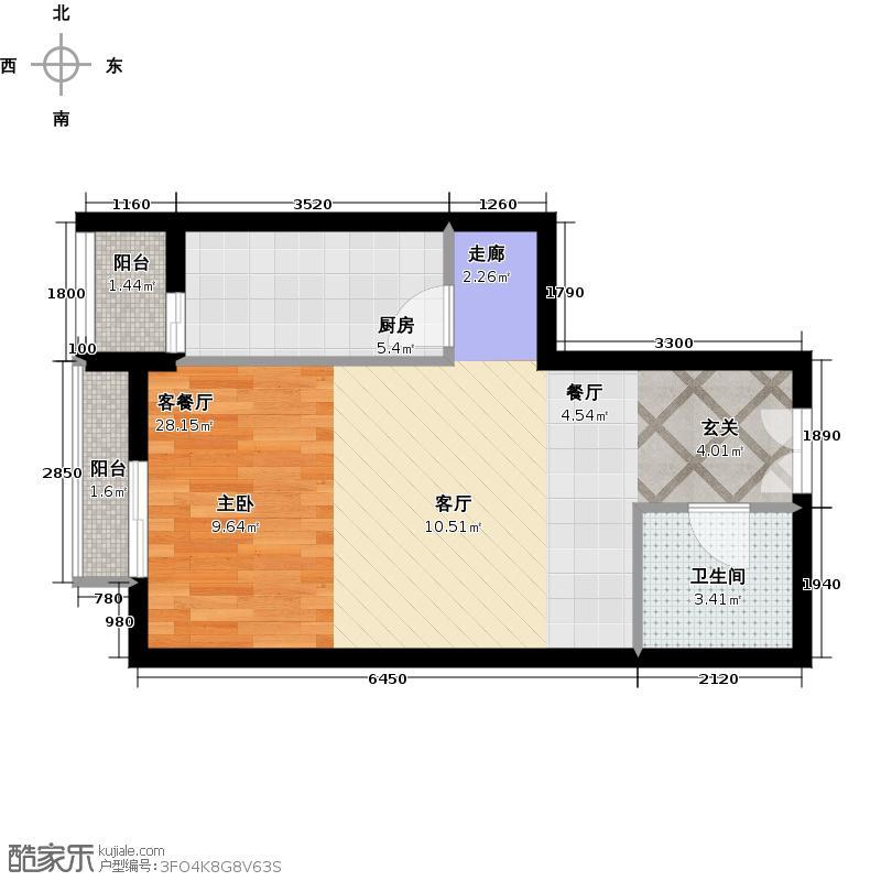 武夷・城市左岸1号楼259单元01一居室户型1厅1卫1厨