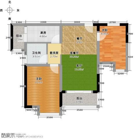 康利尔风花树2室1厅1卫1厨78.00㎡户型图