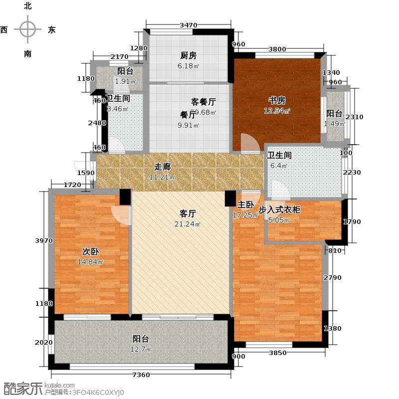 绿城玉园163.00㎡M1户型3室2厅2卫