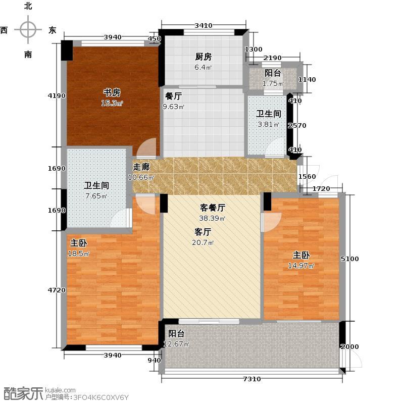 绿城玉园162.00㎡M3户型3室2厅2卫
