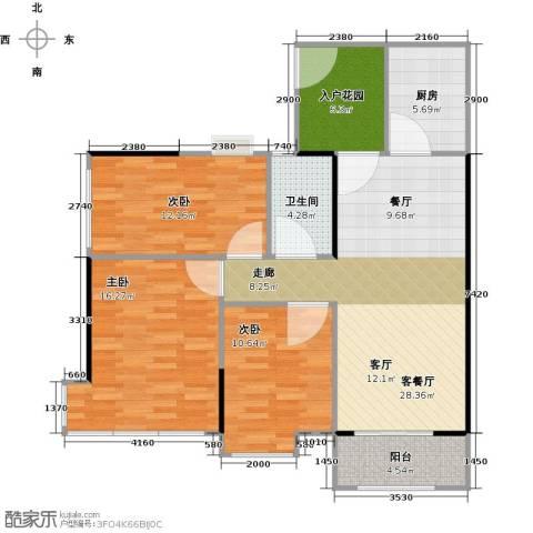 雅居乐锦官城3室1厅1卫1厨95.00㎡户型图