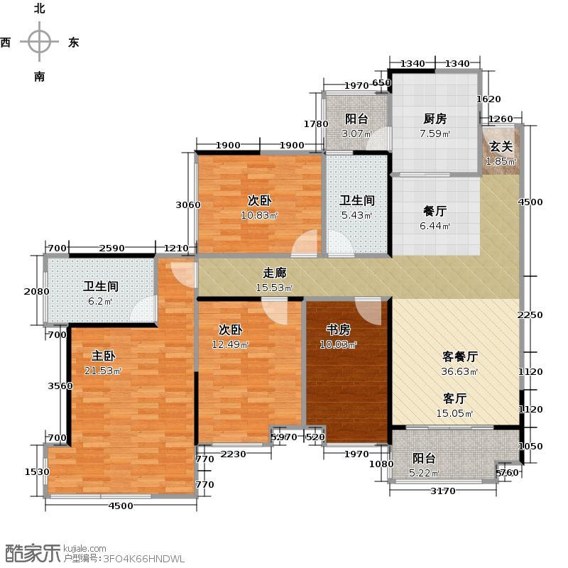 雅居乐锦官城128.13㎡雅居乐星汇04栋05+0户型4室1厅2卫1厨