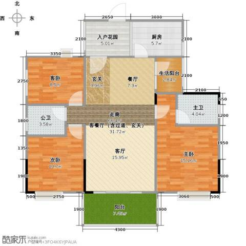 花香十二院3室0厅0卫1厨114.00㎡户型图