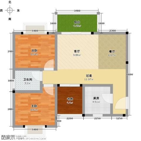 花香十二院3室0厅1卫1厨78.00㎡户型图