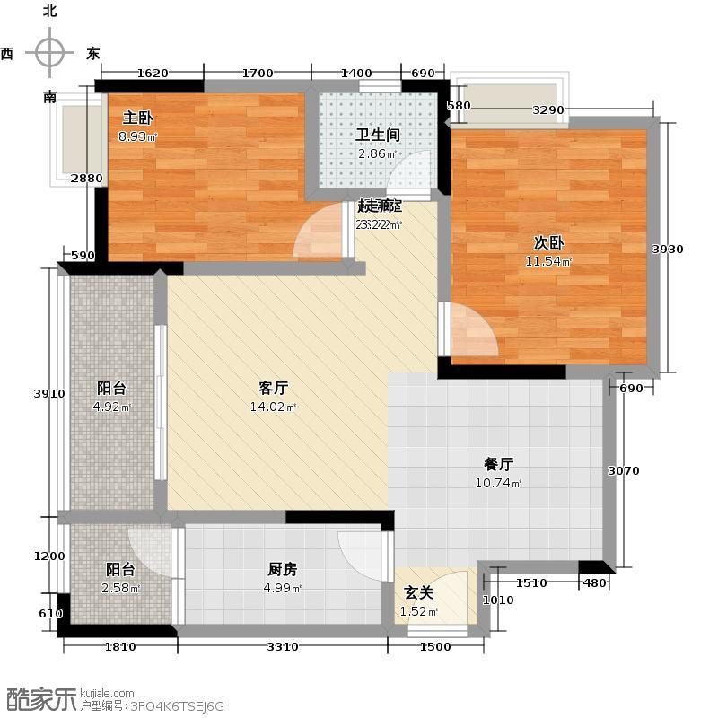新京童梦湾B户型2室1卫1厨