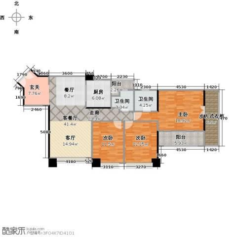 京基滨河时代大厦3室1厅2卫1厨115.00㎡户型图