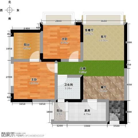 康利尔风花树2室1厅1卫1厨82.00㎡户型图