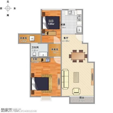 东渡伊顿小镇2室1厅1卫1厨82.00㎡户型图