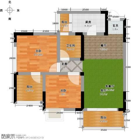康利尔风花树2室1厅1卫1厨84.00㎡户型图