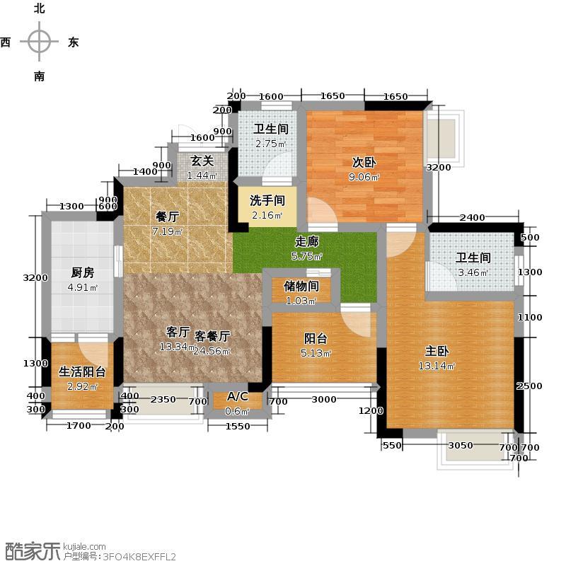 康利尔风花树10号楼3号房户型2室1厅2卫1厨