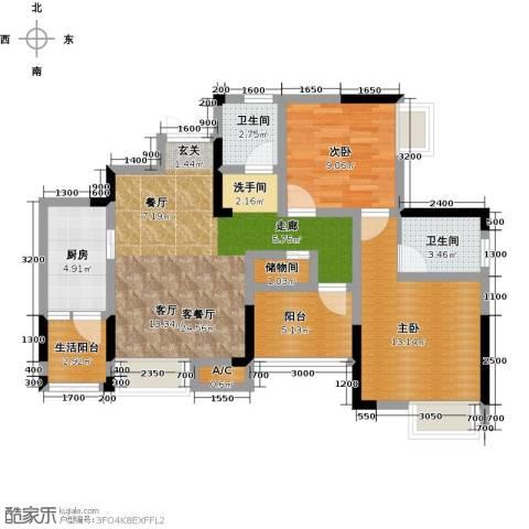 康利尔风花树2室1厅2卫1厨95.00㎡户型图