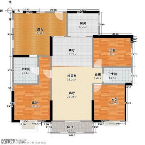 中信观澜凯旋城3室0厅2卫1厨125.00㎡户型图