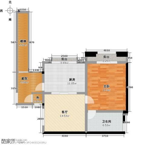 隆鑫澜天湖达沃斯国际度假村1室1厅1卫1厨64.77㎡户型图