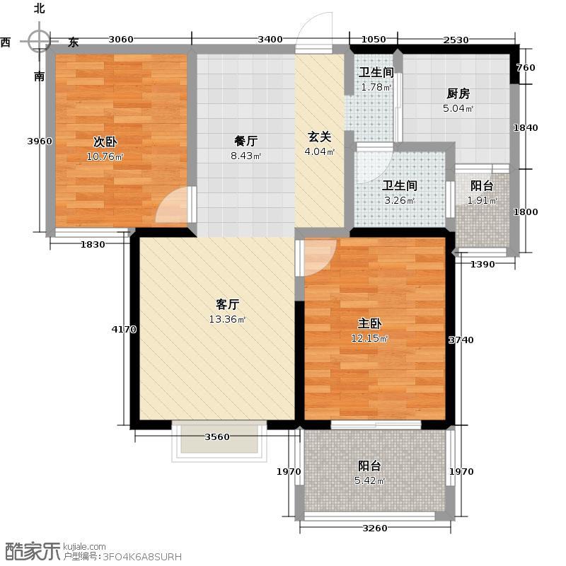 西锦国际广场2期3号楼B2户型2室1卫1厨