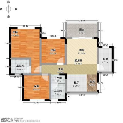 丰都龙景花园3室0厅2卫1厨90.00㎡户型图