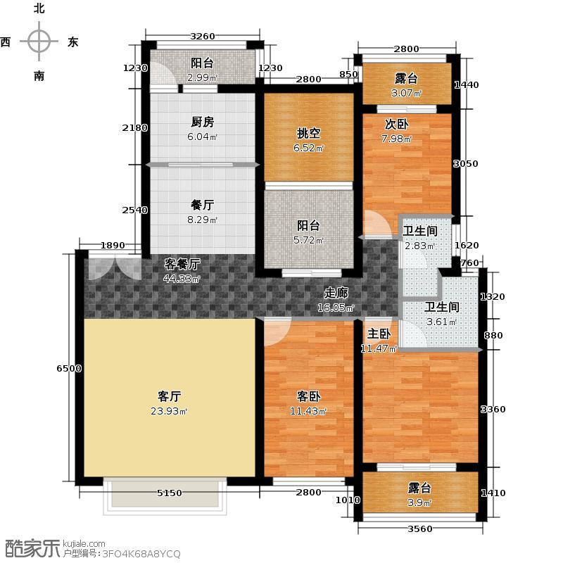 瑞泽佳园126.24㎡户型3室1厅2卫1厨