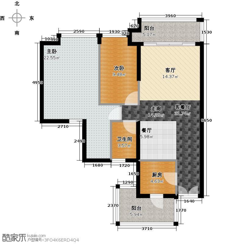 凯旋新世界125.27㎡枫丹丽舍第2栋02单元户型2室1厅1卫1厨