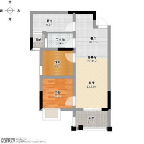 绿地翠谷三期饕界2室1厅1卫1厨67.00㎡户型图