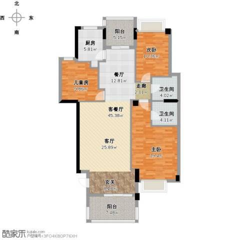 绿地翠谷三期饕界3室1厅2卫1厨156.00㎡户型图