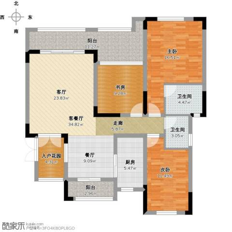 锴泽四季花城3室1厅2卫1厨150.00㎡户型图