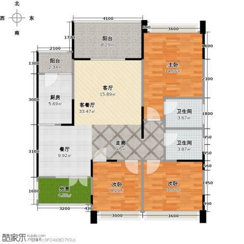 协信阿卡迪亚君临天下3室1厅2卫1厨128.00㎡户型图