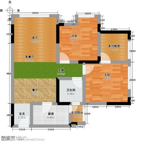 康利尔风花树2室1厅1卫1厨81.00㎡户型图