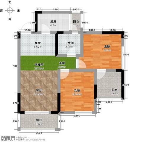 康利尔风花树2室1厅1卫1厨85.00㎡户型图