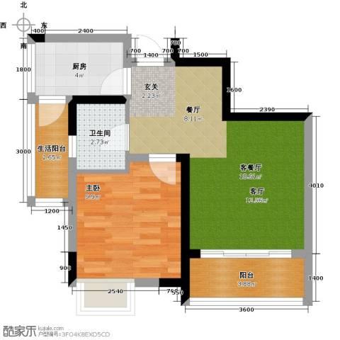 康利尔风花树1室1厅1卫1厨56.00㎡户型图