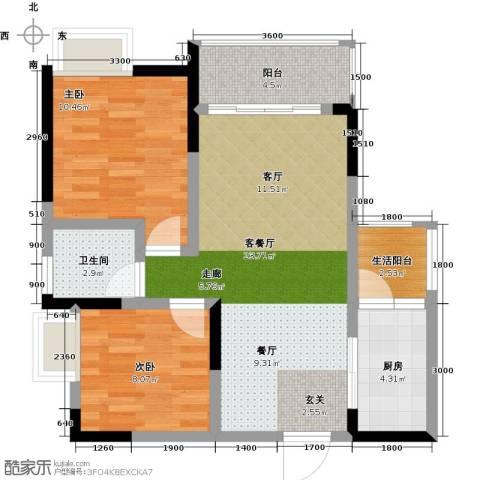 康利尔风花树2室1厅1卫1厨76.00㎡户型图
