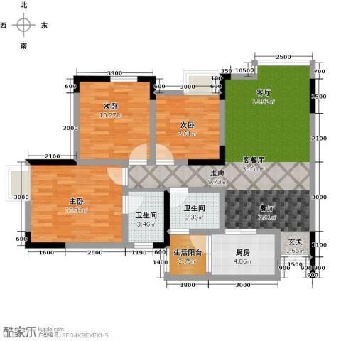 康利尔风花树3室1厅2卫1厨109.00㎡户型图