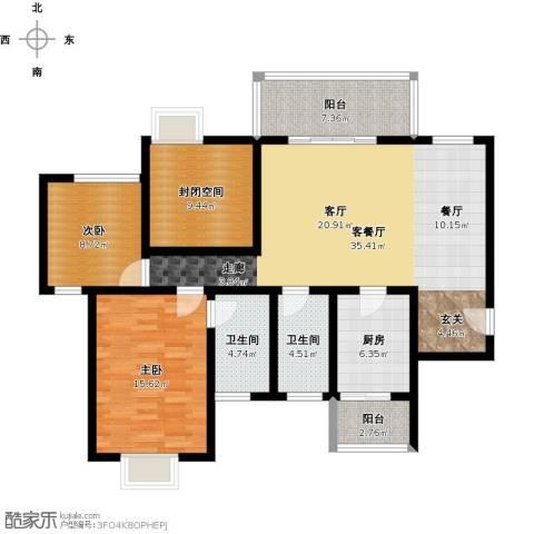 绿地翠谷三期饕界2室1厅2卫1厨137.00㎡户型图