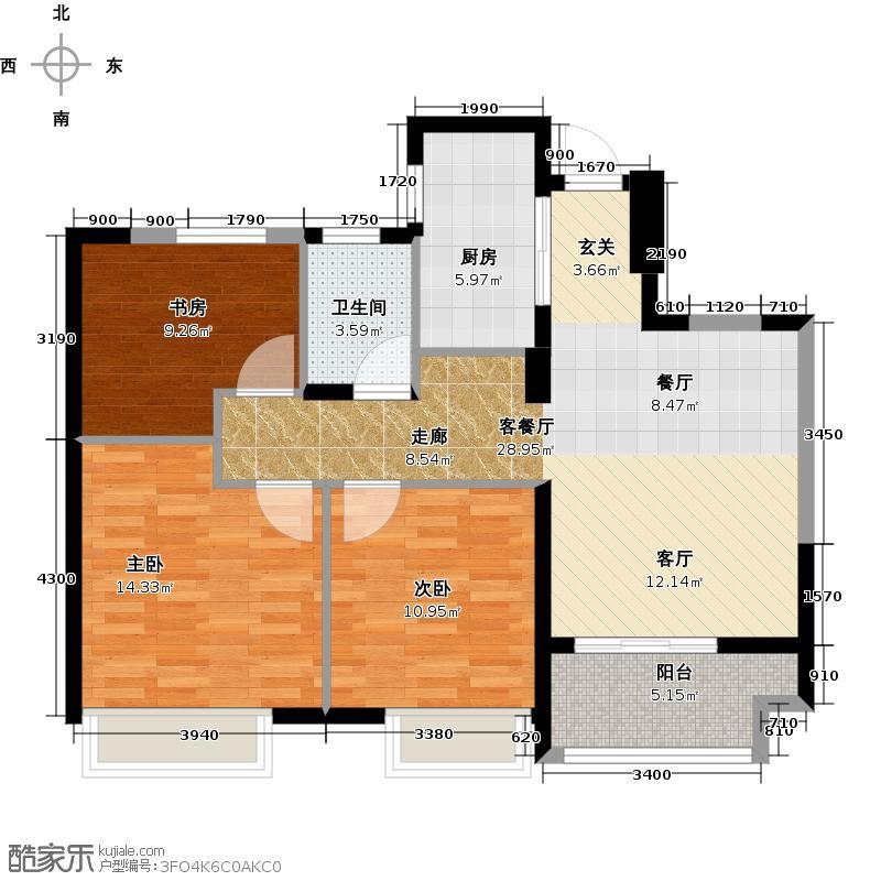 保亿风景晨园89.00㎡G2户型3室2厅1卫