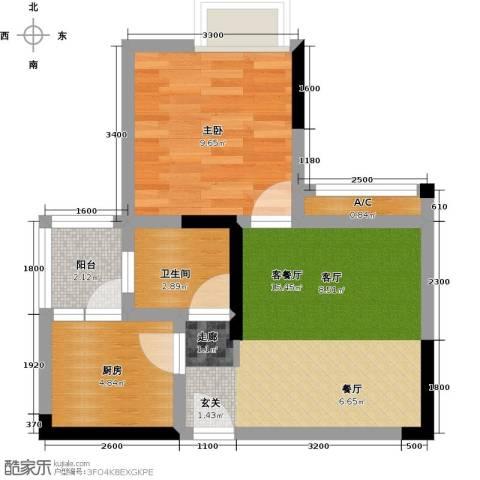 康利尔风花树1室1厅1卫1厨51.00㎡户型图
