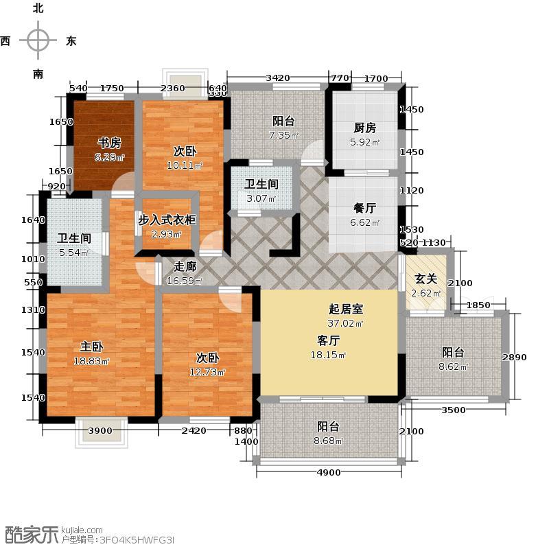 东山国际新城C区A+型双卫下层户型4室2卫1厨
