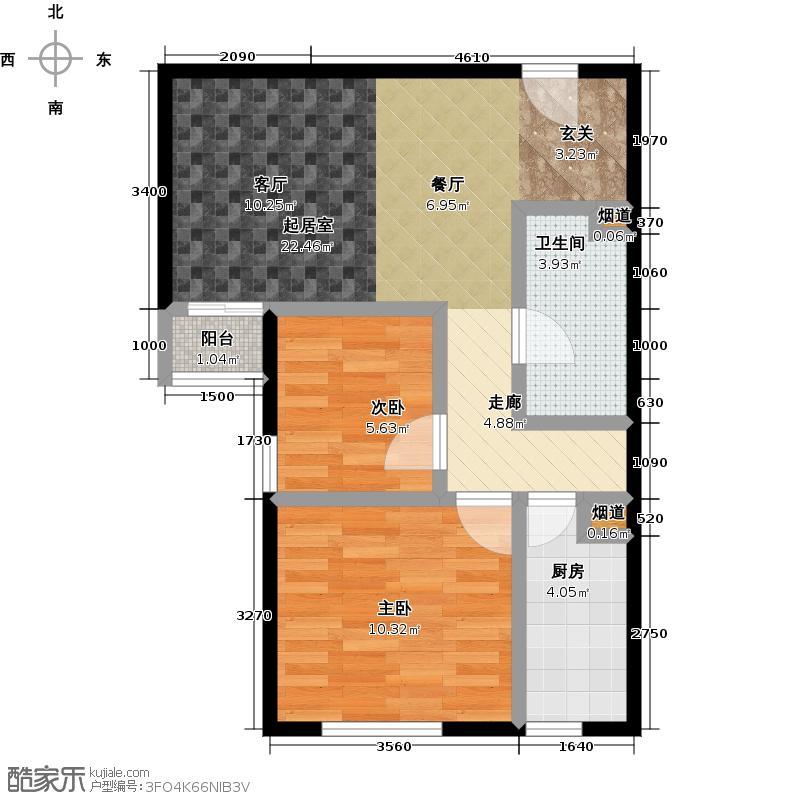 时代新苑1B反73户型2室1卫1厨