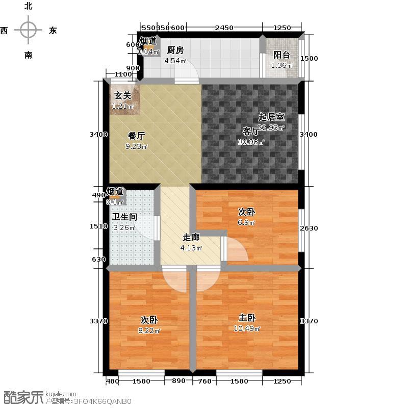 时代新苑2C反户型3室1卫1厨
