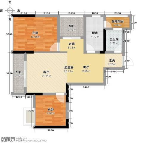 朝兴龙城国际2室0厅1卫1厨70.00㎡户型图