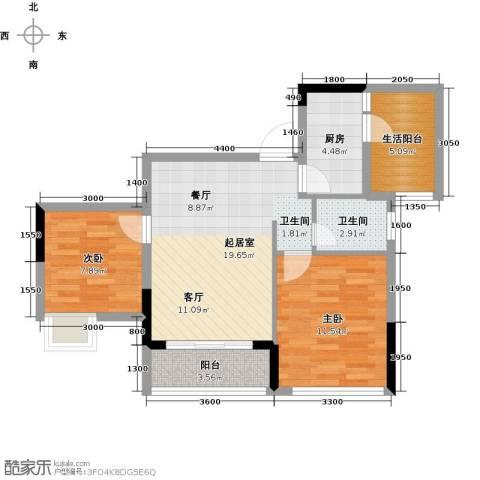 朝兴龙城国际2室0厅1卫1厨59.00㎡户型图