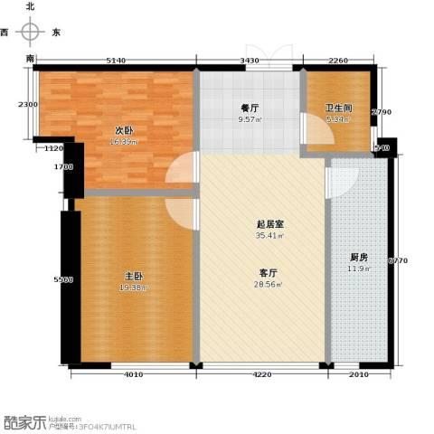城市之光国际公寓2室0厅1卫1厨124.00㎡户型图