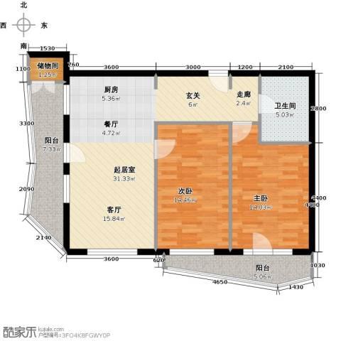 美然生态馆2室0厅1卫0厨87.85㎡户型图