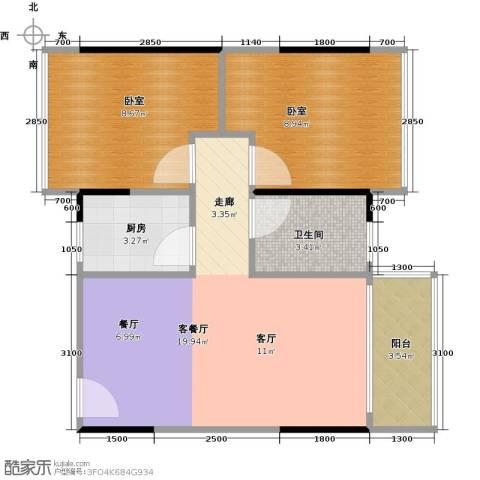 3号线城市公寓1厅1卫1厨65.00㎡户型图