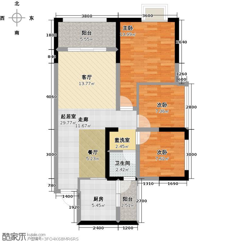洲际亚洲湾A4户型3室1卫1厨