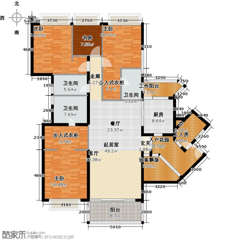 嘉裕公馆205.21㎡B栋02单位东南向户型4室3卫1厨