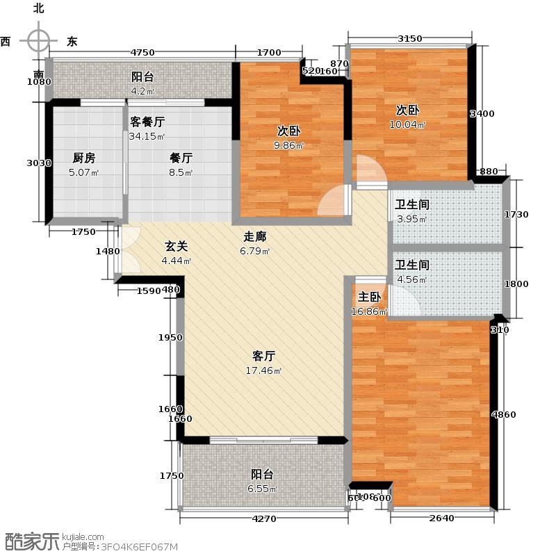 中惠�庭户型3室1厅2卫1厨