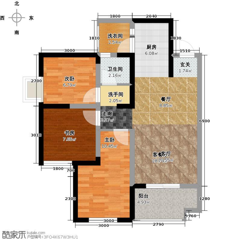 东原西岸3-B赠送户型3室1厅1卫