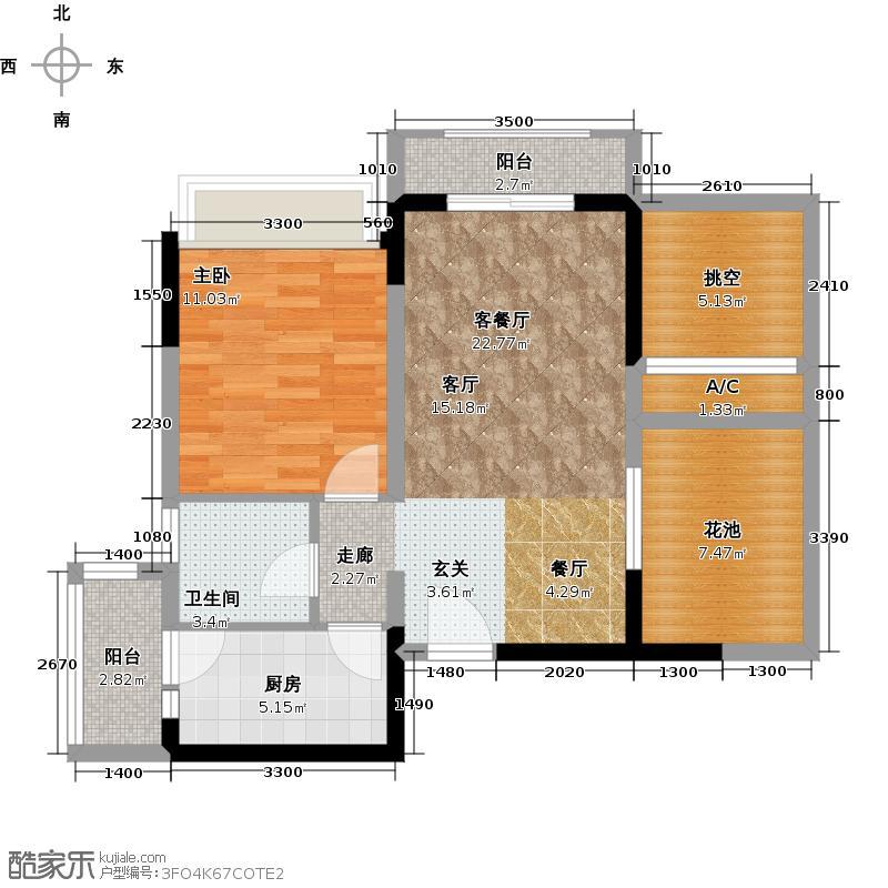 紫荆城二期A1户型1室1厅1卫1厨
